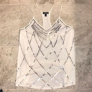 Express white tank with needs and sequins design